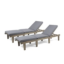 Ariana Outdoor Chaise Lounge, Quick Ship (Set of 2)