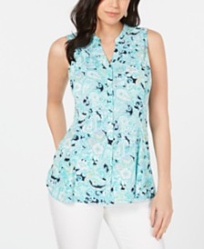 Charter Club Printed Godet Sleeveless Top, Created for Macy's
