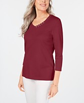 9d634be61f2 Karen Scott Cotton V-Neck Button-Trim Top, Created for Macy's