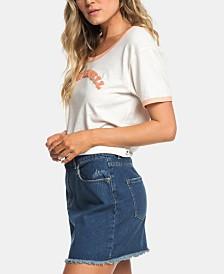 Roxy Juniors' Cotton Frayed Denim Skirt
