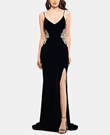 Embellished Velvet Slit Gown