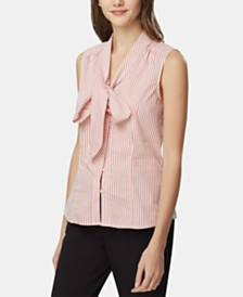 Tahari ASL Striped Tie-Neck Blouse