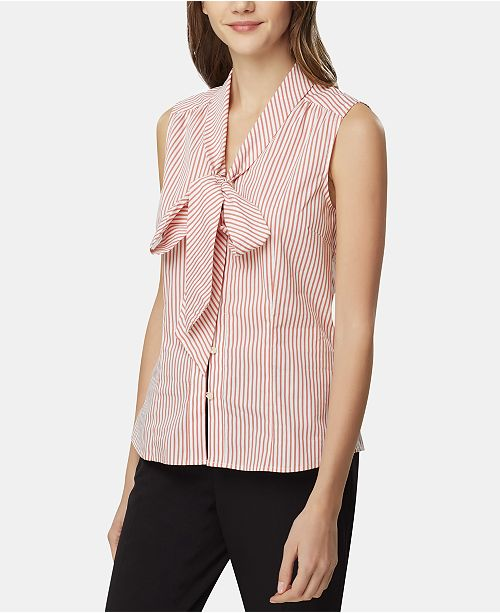 Tahari Asl nouees Stripe Blouse commentaires Corail a rayures Tops Femme Ivory et kZiPXu