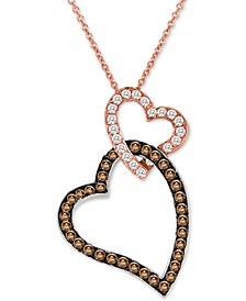 "Chocolate Diamond® & Vanilla Diamond® Hearts 18"" Pendant Necklace (3/4 ct. t.w.) in 14k Rose Gold"