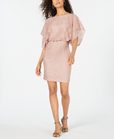 Jessica Howard Petite Shimmer Lace Blouson Dress