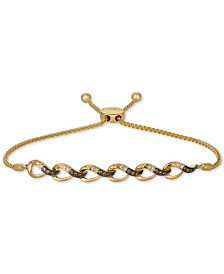 Le Vian Chocolatier® Vanilla Diamonds® & Chocolate Diamonds® (1/4 ct. t.w.) Bolo Bracelet in 14k Gold