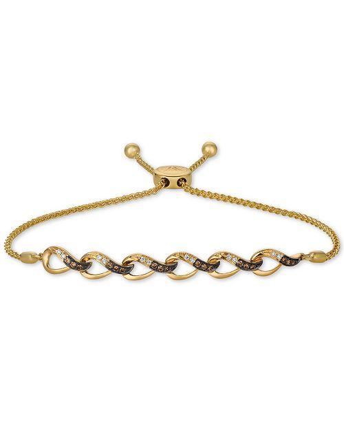 Le Vian Chocolatier® Vanilla Diamonds® & Chocolate Diamonds® (1/4 ct. t.w.) Bolo Bracelet in 14k Gold