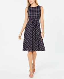 Jessica Howard Petite Plaid Tie-Front Dress