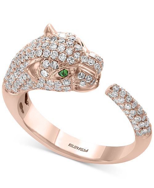 EFFY Collection EFFY® Diamond (3/4 ct. t.w.) & Tsavorite Accent Panther Cuff Ring in 14k Rose Gold