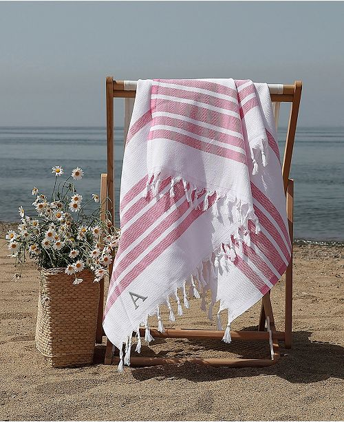 76842f797e Linum Home Personalized Herringbone Pestemal Beach Towel & Reviews ...