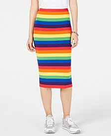 Rainbow-Striped Pencil Skirt