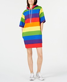 MICHAEL Michael Kors Rainbow-Striped Hooded Dress