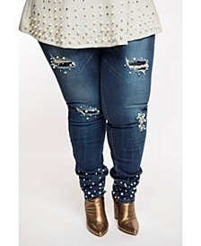 "Eleven60 ""My Pearl"" Embellished Denim Pants Plus"