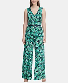 Belted Palm-Print Jersey Jumpsuit