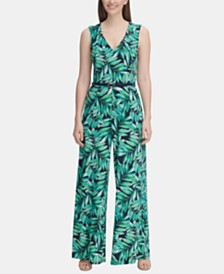 Tommy Hilfiger Belted Palm-Print Jersey Jumpsuit