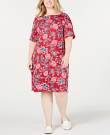 Karen Scott Plus Size Floral Print Dress, Created for Macy's