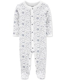 Baby Boys Animal-Print Footed Cotton Coverall