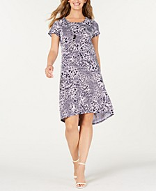 Petite Paisley-Print Dress & Necklace