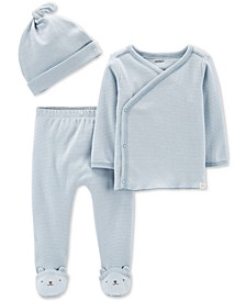 Baby Boys 3-Pc. Cotton Jacket, Footed Pants & Hat Set