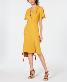 Monteau Petite Ruffle-Sleeve Faux-Wrap Dress