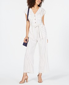 Monteau Petite Striped Belted Jumpsuit