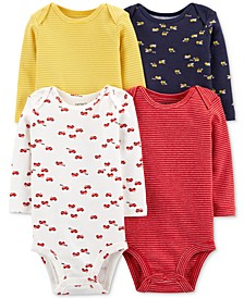 Baby Boys 4-Pack Printed Cotton Bodysuits