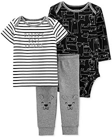 Baby Boys 3-Pc. Dog-Print Cotton T-Shirt, Bodysuit & Pants Set