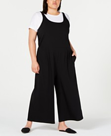 Eileen Fisher Plus Size Cropped Wide-Leg Cotton Jumpsuit