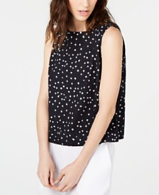 Eileen Fisher Organic Cotton Dot-Print Top