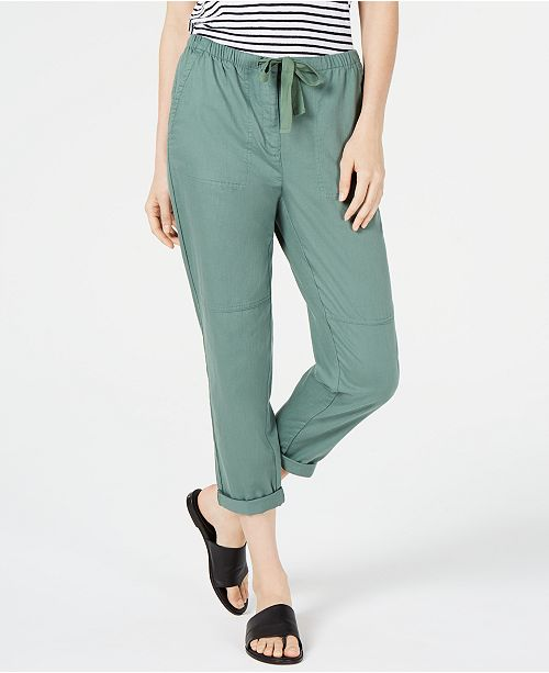 Eileen Fisher Organic Cotton Drawstring Pull-On Pants