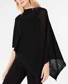 Eileen Fisher Organic Linen & Organic Cotton Asymmetric Poncho