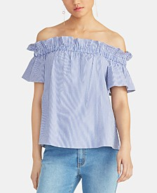 RACHEL Rachel Roy Erla Seersucker Off-The-Shoulder Top
