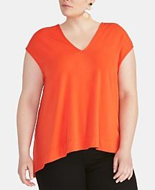 RACHEL Rachel Roy Bina Trendy Plus Size  Cropped V-Neck Top