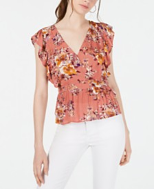 Gypsies & Moondust Juniors' Floral-Print Ruffle-Sleeve Top