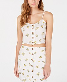 Juniors' Button-Front Floral-Print Tank Top