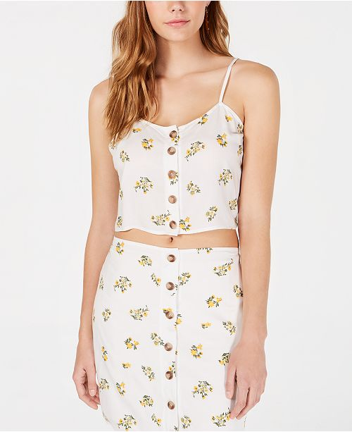 Polly & Esther Juniors' Button-Front Floral-Print Tank Top