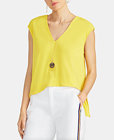 RACHEL Rachel Roy Bina Cropped V-Neck Top