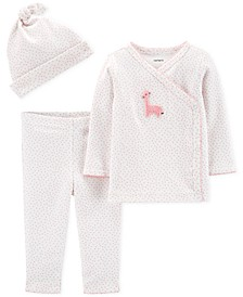 Baby Girls 3-Pc. Cotton Top, Pants & Hat Set