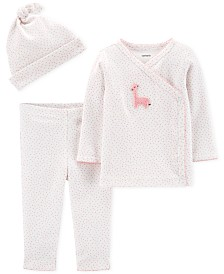 Carter's Baby Girls 3-Pc. Cotton Top, Pants & Hat Set
