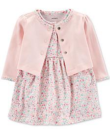 Baby Girls 2-Pc. Cotton Cardigan & Printed Dress Set