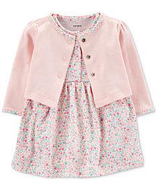 Carter's Baby Girls 2-Pc. Cotton Cardigan & Printed Dress Set