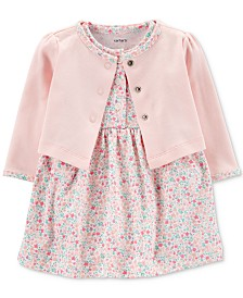 Carter's Baby Girls 2-Pc. Cotton Cardigan & Printed Dress Set