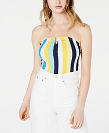 Juniors' Strapless U-Ring Rib-Knit Bodysuit, Created for Macy's