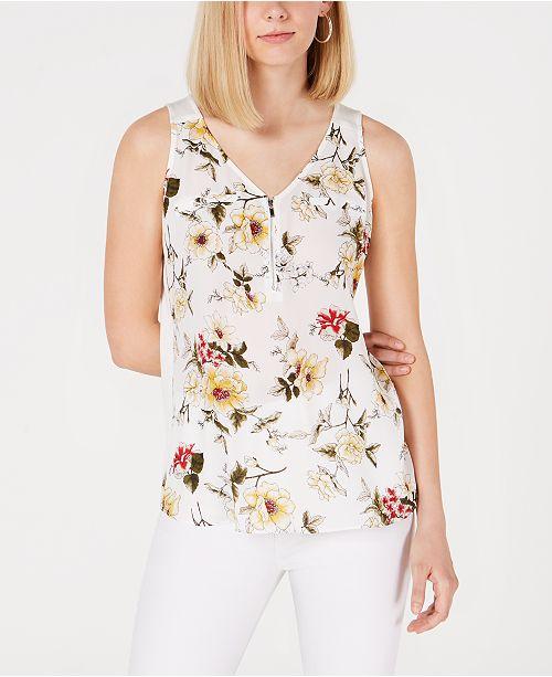 BCX Juniors' Floral-Print Zip-Neck Top