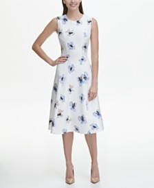 Tommy Hilfiger Eloise Floral Sleeveless Scuba Fit and Flare Midi Dress