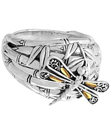Sweet Dragonfly Bamboo Sterling Silver Ring Embellished by 18K Gold Accents on 4 Strips of Dragonfly's Wings