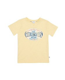 Graphic Short-Sleeve T-Shirt with Notched Collar