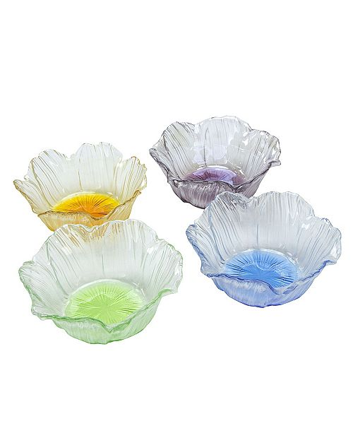 Classic Touch Dessert Bowls With Assorted Colors, Set Of 4