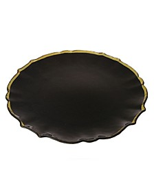 Black Charger With Gold Rim, Set Of 4