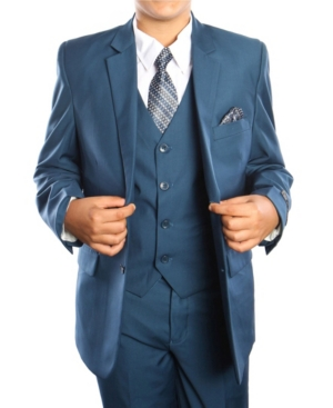 Solid 2 Button Vested Boys Suit 5 Piece
